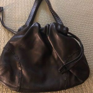 Beautiful leather drawstring handbag